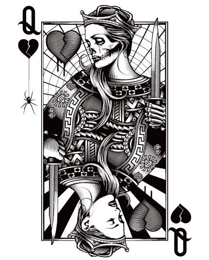 king card vector art monochrome tattoo - Google Search