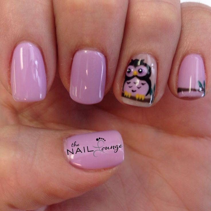 Owl gel nail art design