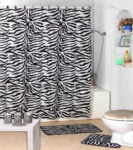 Kids Safari Bathroom Set: Shower Curtain Kids Jungle Safari Black Zebra