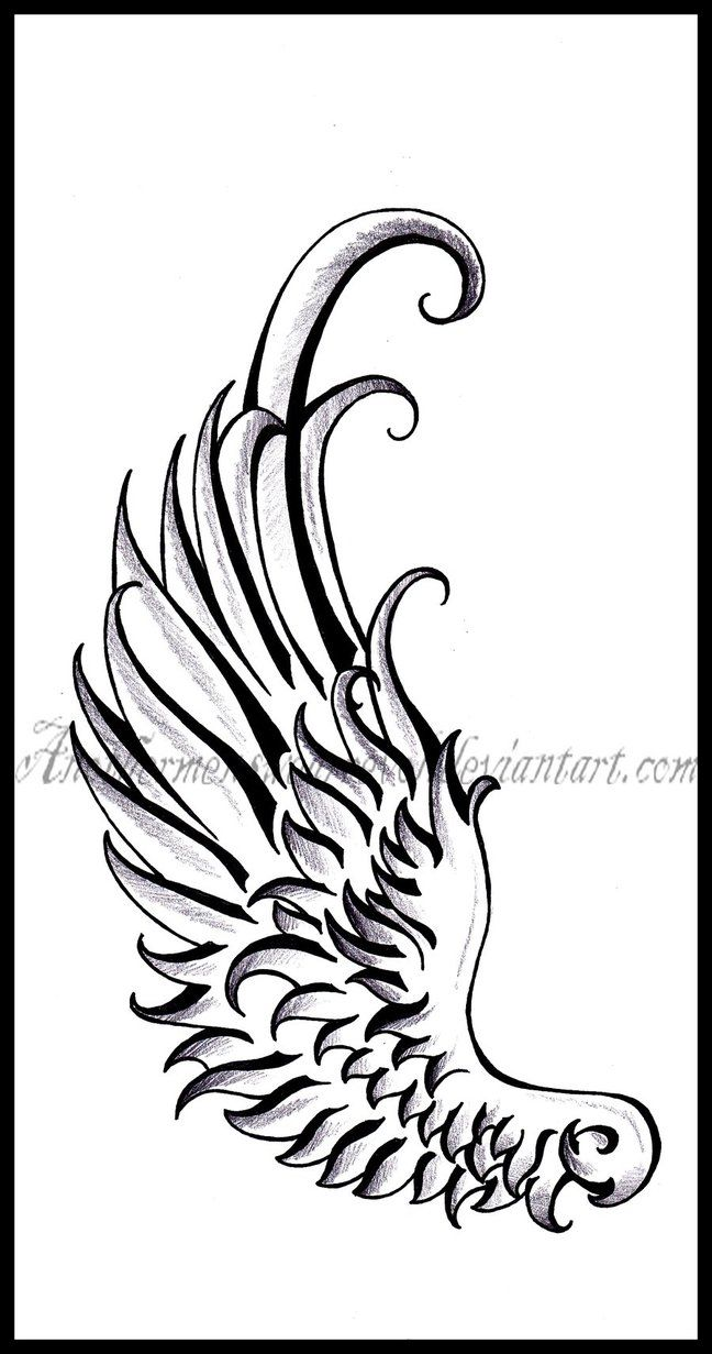 wing tattoo designs | Hermes Wing- Tattoo design by DabsofKiwi