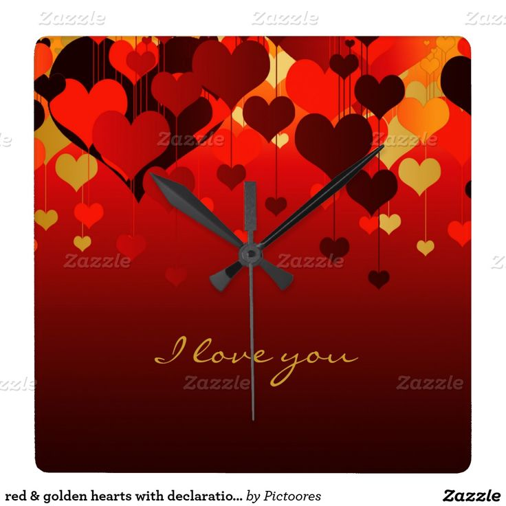 red & golden hearts with declaration of love wallclock