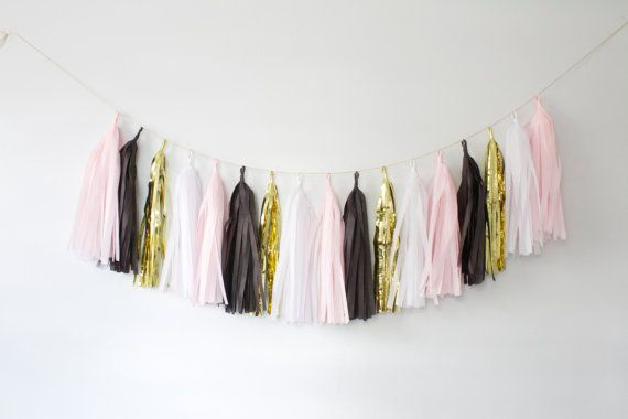 Blush Pink and Black Tassel Garland  Pink and Black by BlushBazaar