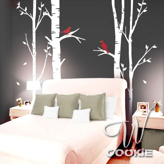 Birch Trees and Cardinal Birds Wall Decal by wcookie on Etsy, $98.00 I want this!