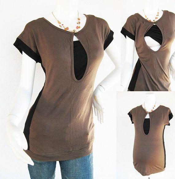 Retro Maternity Clothes / Nursing Top / Breastfeeding Top / NEW Original Design MOCHA / Nursing Tops for Breastfeeding/ Free Shipping