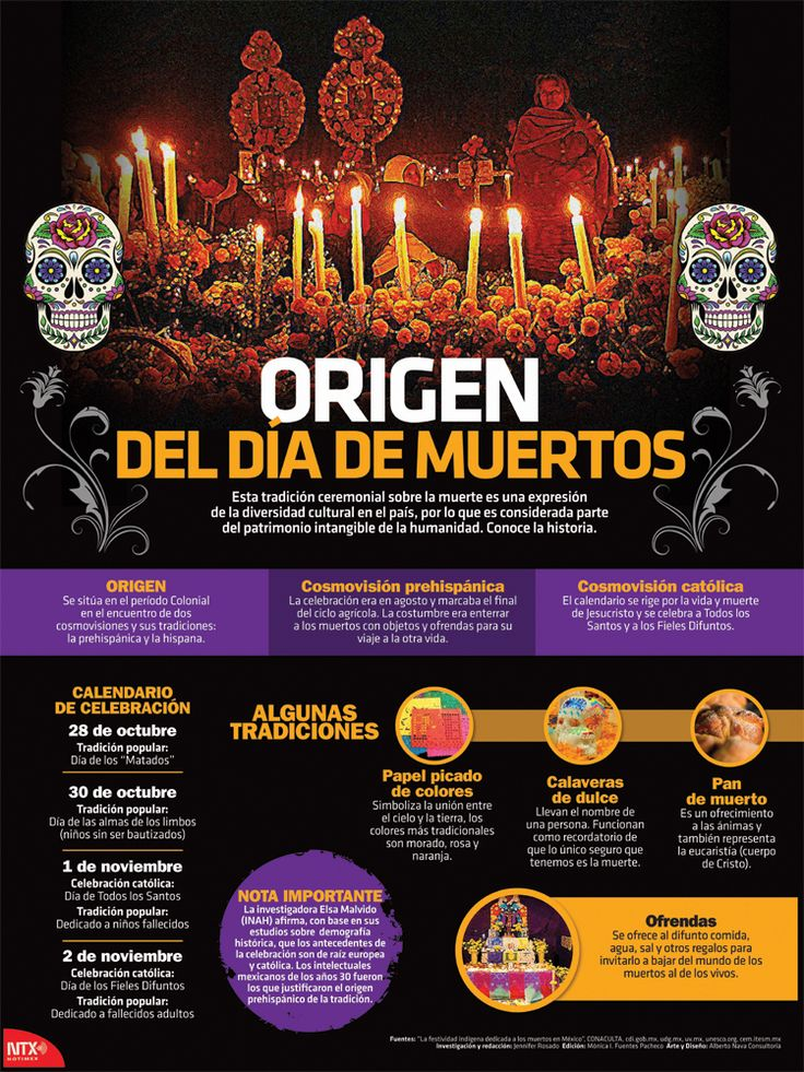 Exclusive partnership with   Notimex, Agencia de Noticias del Estado Mexicano for a limited print edition. Discover the pre-Hispanic traditions and influences from Spain, including an explanation of what happens on each day of the celebration, along with a brief description of the main elements of Día de Muertos — ofrendas, papel picado, pan de muerto, calaveras de azúcar, and more.