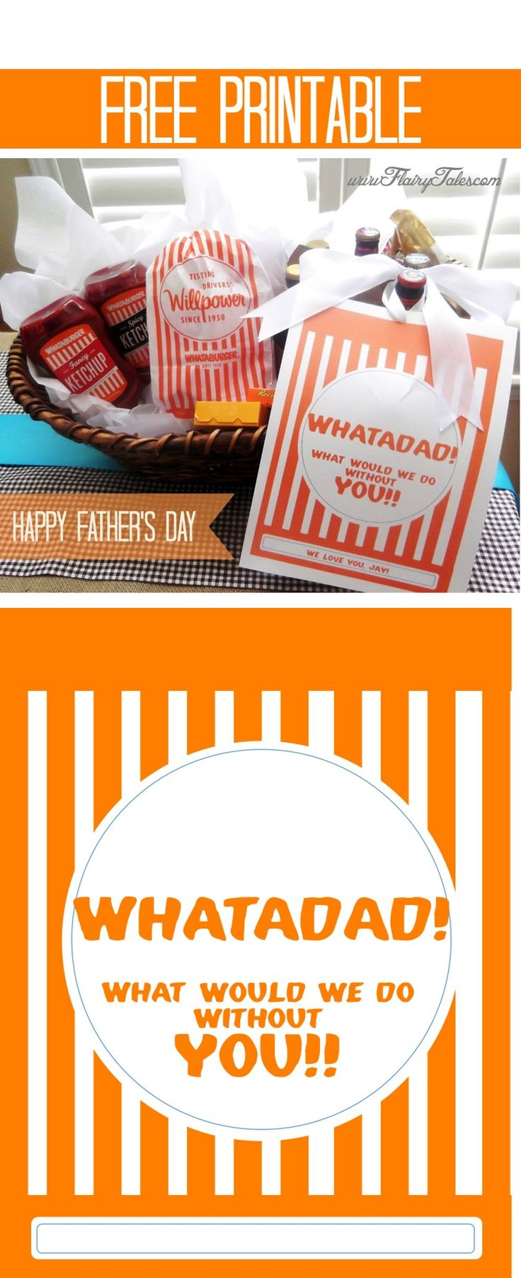 A Whataburger-inspired Father's Day gift basket for Dad!  So excited to learn that you can find Whataburger ketchup at the grocery store!  #simplejoys :)