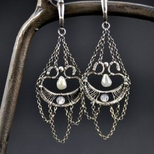 BAROQUE | Monika Kraczek  Wire-wrapped earrings. Silver, labradorite and agate. Buy: www.monikakraczek.com