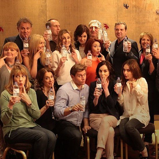 The Downton Abbey cast responding to the water bottle mistake in season five promo.: