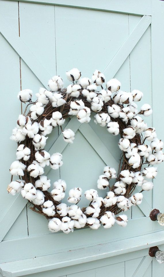 Cotton Wreath Christmas Wreath Gift for Her by DaisyMaeBelle