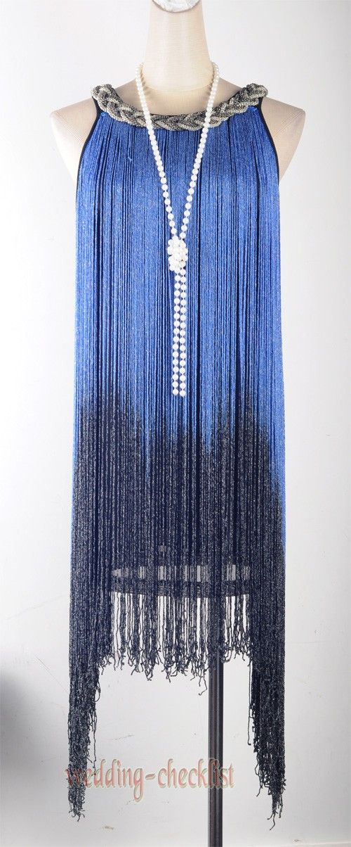 Picture of 1920's Flapper dress Cocktail Sexy Latin Blue Tassel Dress