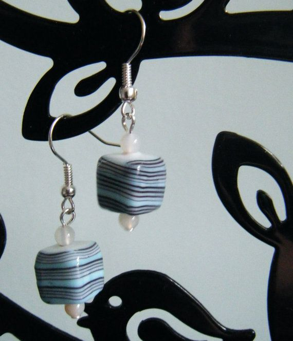 Blue cube or ball earrings with stripey blue beads by Undercover Zebra  £4