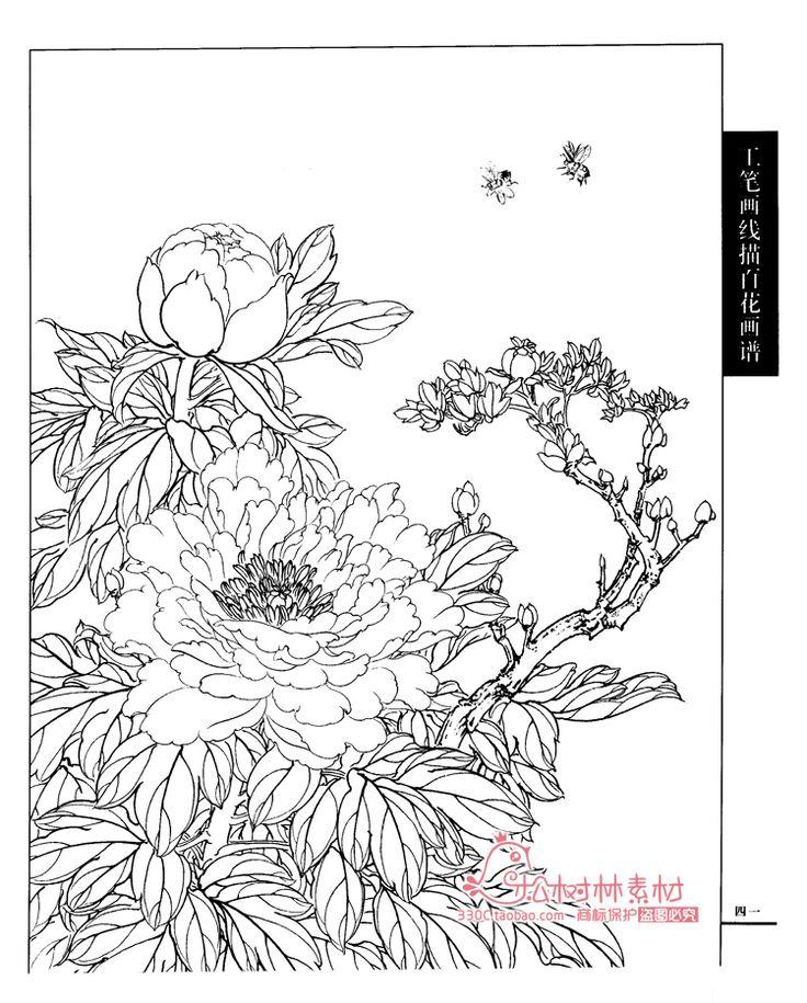 高清国画工笔画线描花卉画谱牡丹月季茶梅荷菊花白描线稿底稿素材-淘宝网