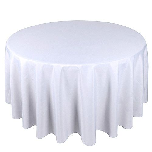 WHITE 90 Inch POLYESTER ROUND Tablecloths