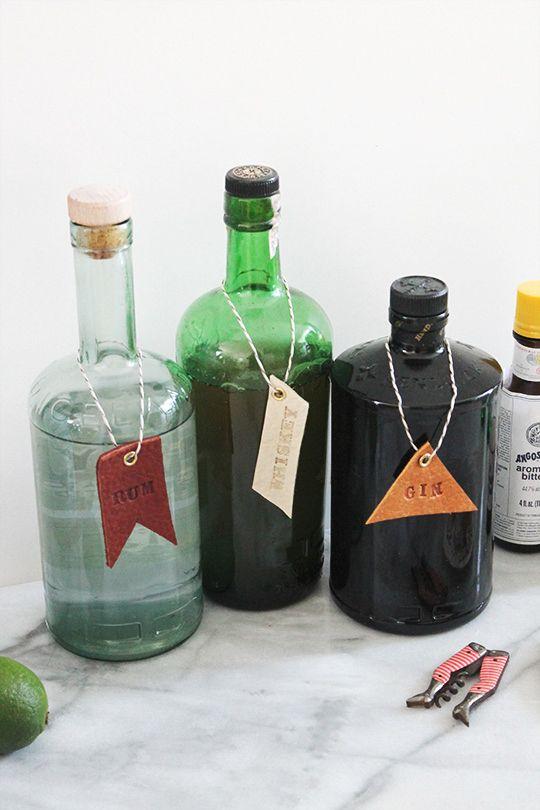 DIY leather bar and drink tags via Sugar & Cloth
