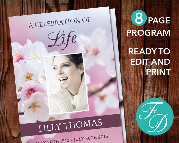 191 best 8 Page Funeral Program Templates images on Pinterest - memorial brochure template