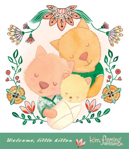 Little kitten illustration and floral design for a new baby