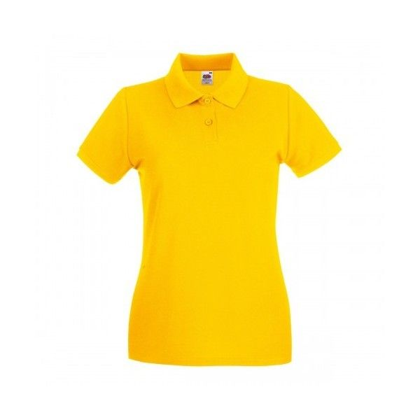 Fruit Of The Loom Ladies Lady-Fit Premium Short Sleeve Polo Shirt ($9.68) ❤ liked on Polyvore featuring tops, fruit of the loom, short sleeve polo shirts, yellow polo shirt, yellow top and short sleeve tops