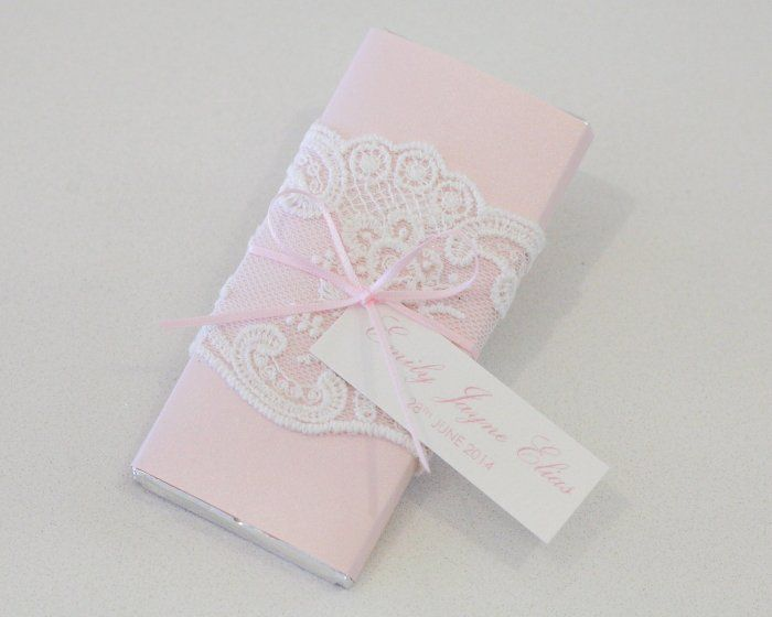 Pink & White Lace Personalised Chocolate Bar Christening Bonboniere