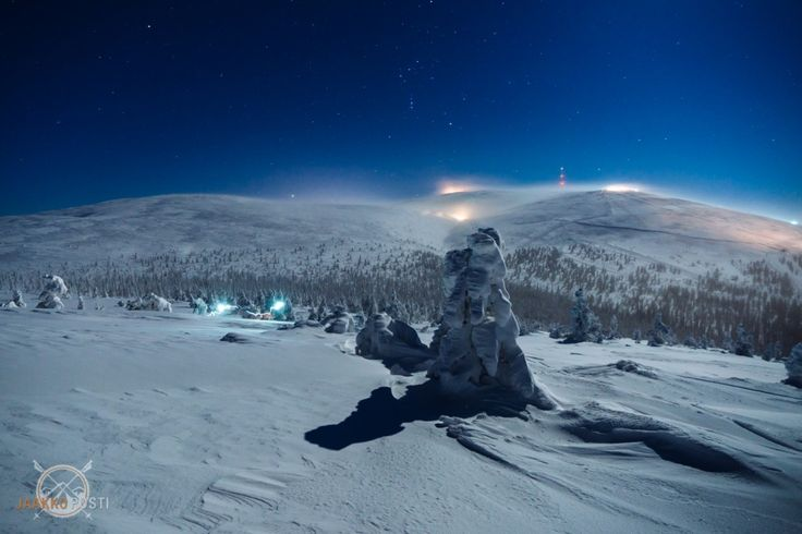 The Ylläs-Ski resort in Ylläs Fells in Finland. This is how it's like in the moonlight! Magical!