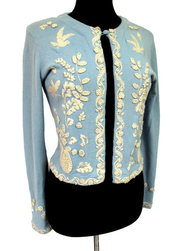 Vintage 50s 60s Blue Embroidered Floral Sweater s M | eBay