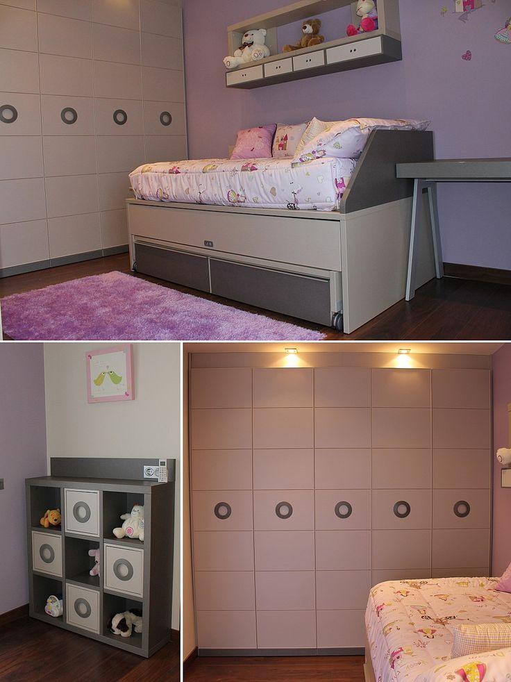 Habitaci n juvenil con una cama nido de dos camas y dos - Dos camas en una ...