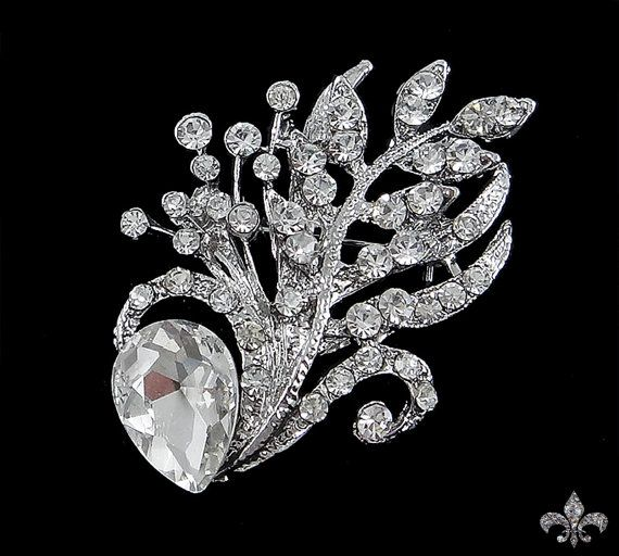 2 1/4 x 1 5/8 inch Rhinestone Brooch Pin  Rhinestone Crystal Brooch  by SupplyWorld, $8.95