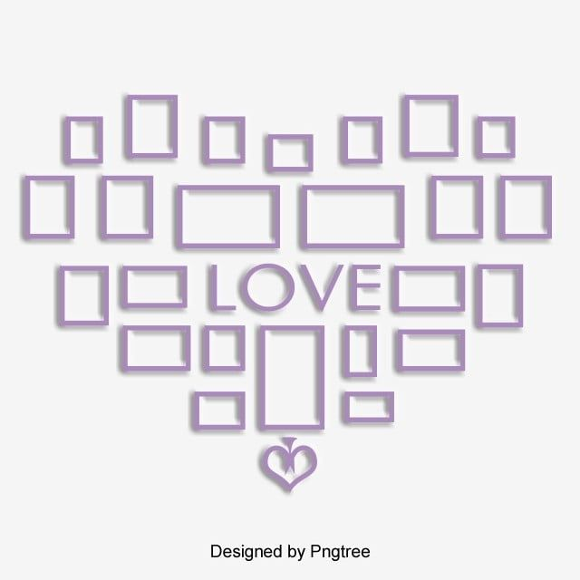 Purple Fresh Fashion Shaped Photo Wall Love Frame Elements Photo Clipart Love Heart Shaped Png Transparent Clipart Image And Psd File For Free Download Love Frames Frame Heart Shapes