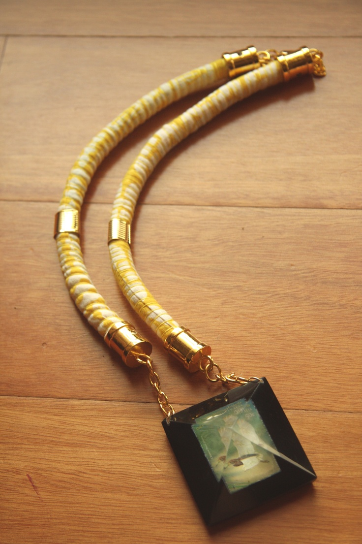 stamp necklace in yellow strands