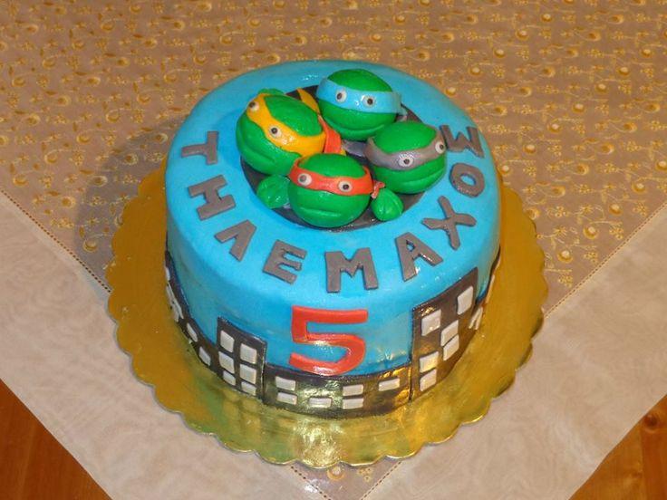 Birthday Cake Turtles Τούρτα Χελωνονιντζάκια