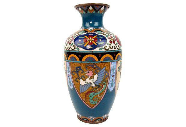 Petite Japanese Cloisonné  Vase w/ Phoenix by Ruby + George on @One Kings Lane