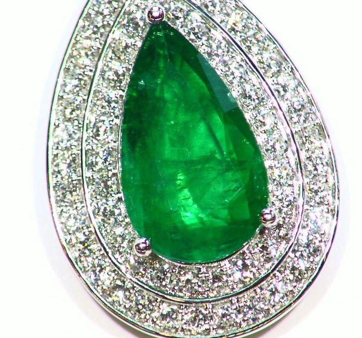 7.86CT 18K GOLD NATURAL EMERALD ROUND WHITE DIAMOND VINTAGE ENGAGEMENT NECKLACE #saltydogwalter #Pendant