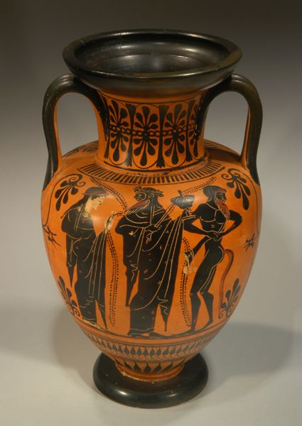 red figure amphora with musical scene Red figure amphora 530-520bc andokides painter  shows music lesson-man is named euthymides  very stagnant for a hectic scene attic red figure amphora, 510bc.