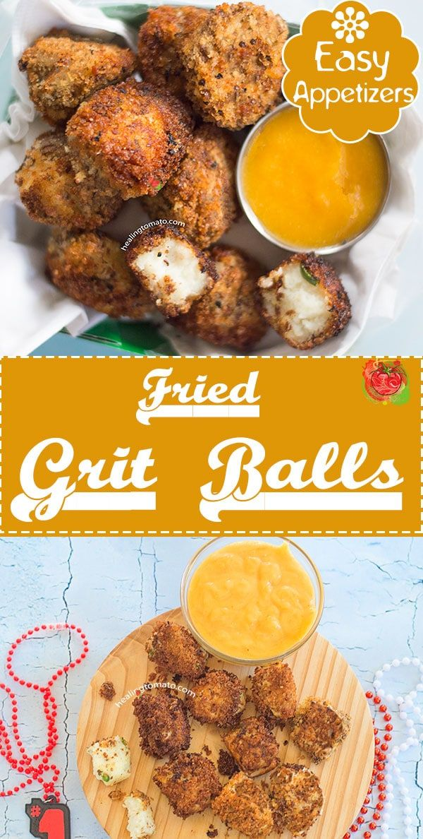 Fried grits balls with peach sauce.