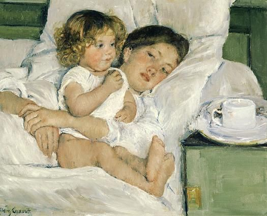 Breakfast in Bed by Mary Cassatt--mentioned repeatedly in Deja Who?
