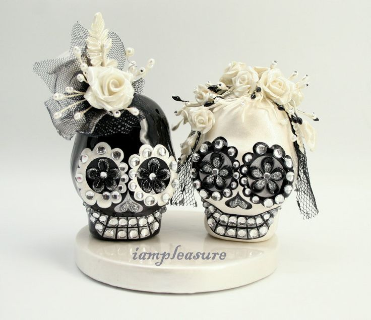 Skull black & white weddings cake topper handmade bride and groom ST0015. $95.00, via Etsy.