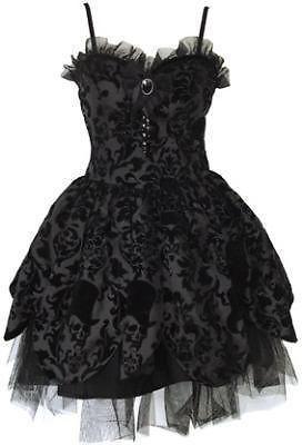 HELL BUNNY BLACK PETAL STEAMPUNK SKULL BROOCH GOTH PUNK PROM DRESS NEW 8-16 | eBay