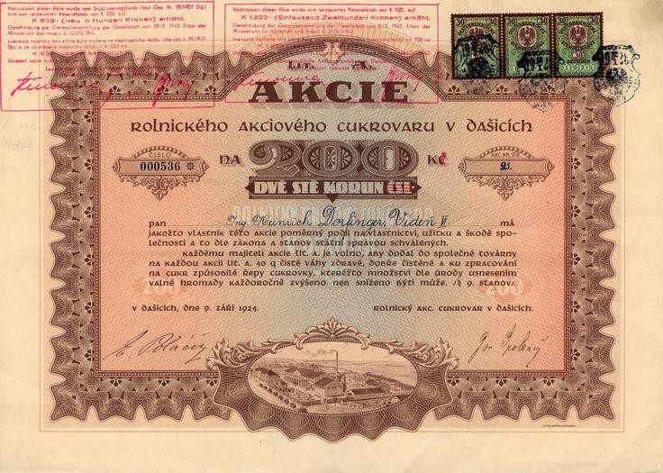 Rolnický akciový cukrovar v Dašicích (Landwirtschaftliche Aktienzuckerfabrik in Daschitz). Akcie na 200 Kč, lit. A. Dašice, 1925.