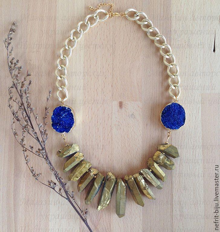 """Купить Колье """"Синее золото"""" - золотой, синий, крупное украшение, крупное колье, колье с друзой"""