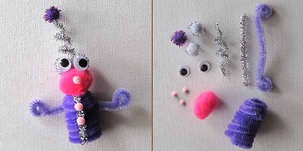 Pipe Cleaner Finger Puppet  http://www.craftjr.com/easy-alien-pipe-cleaner-crafts/