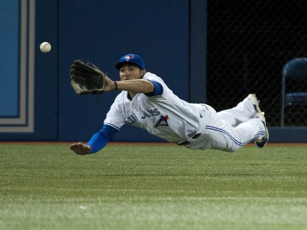 Kevin Pillar may have gone 0-for-4 at the plate in his first (MLB) game with the Toronto Blue Jays, but he more than made up for it with a spectacular catch in left field.