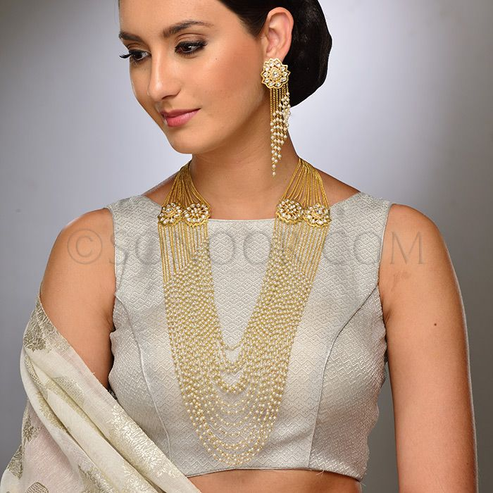 BRI/1/3705 imbi Bridal Set includes Rani Haar and Earrings in dull gold finish studded with kundan stones stringing in pearl droplets