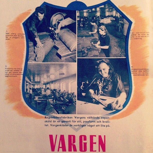 Reklam för regnkläder från Vargen. 1940-tal #svensktekohistoria