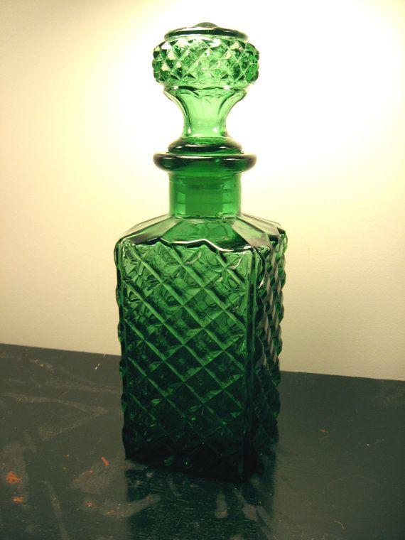 Vintage Emerald Green Glass Decanter Diamond Pattern In