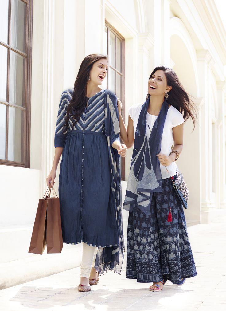 #indigo #white #summers #fashion #women #skirts #kurtas #stoles #blockprints #Fabindia