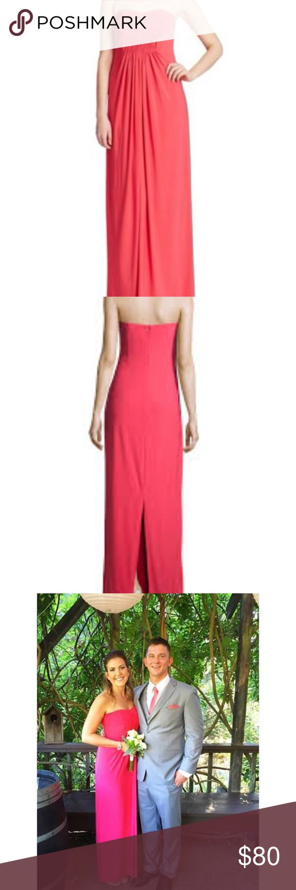 Coral Shelli Segal Strapless Gown Laundry by Shelli Segal Strapless Gown in coral - worn ONCE in a wedding, has been dry cleaned!   Hidden back zip. Back center slit. Polyester/spandex. Laundry by Shelli Segal Dresses Wedding