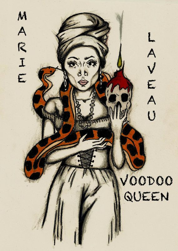 MARIE LAVEAU - Voodoo Queen - Print - Birthday Gift, Tattoo Art Print, Wall Art, Sexy, Fun, New Orleans, Big Easy, Witch, Magic Spells