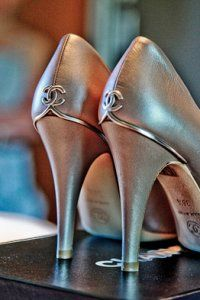 chanel classic silver wedding shoes