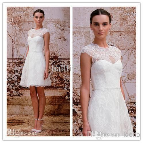Wholesale A-Line Wedding Dresses - Buy New Arrival 2014 Crew Lace Short Wedding Dresses With Capped Sleeves Sheer Neckline Knee-Length Zipper Sleeveless Stunning Bridal Gowns ML14, $102.73 | DHgate.com