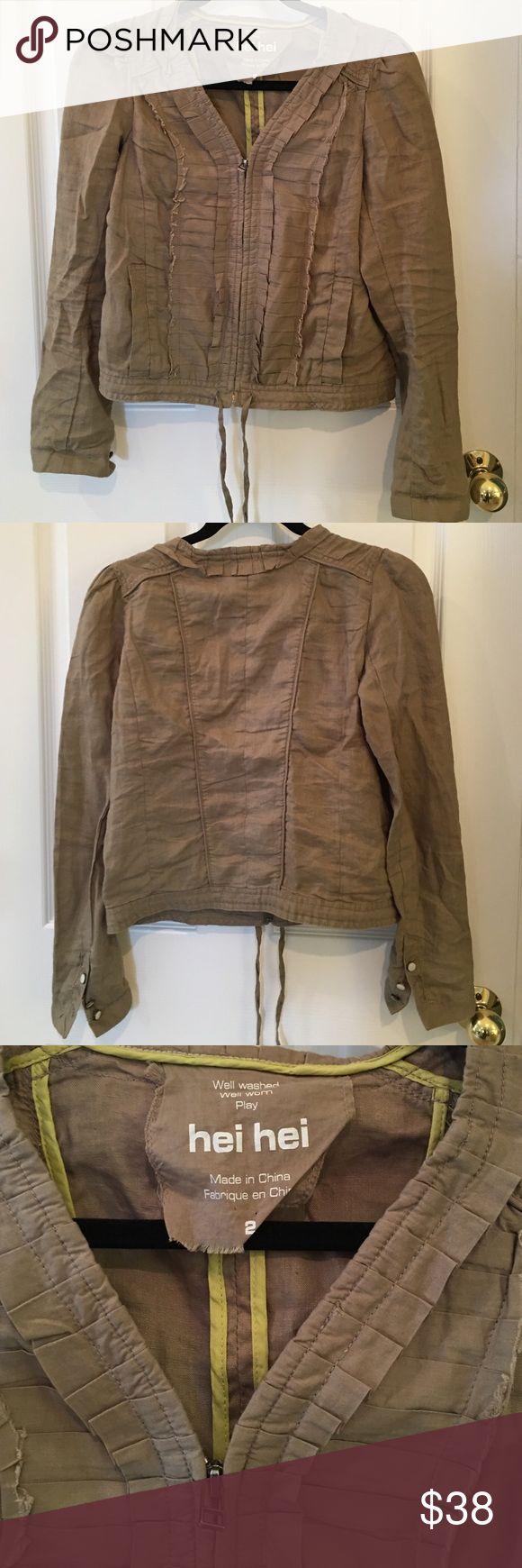 Anthropologie Hei Hei linen jacket Super cute linen jacket by hei hei from Anthropologie. Hei hei Jackets & Coats Utility Jackets