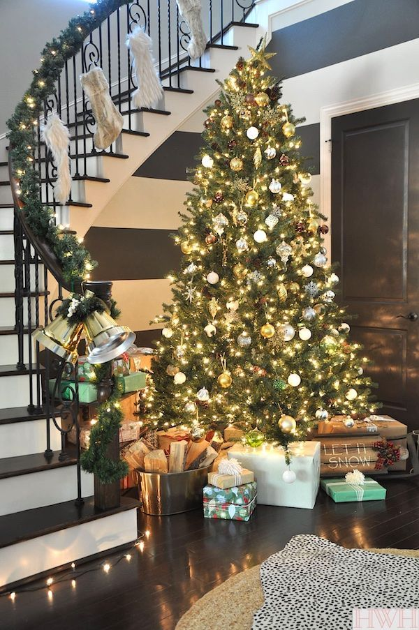 Our Sparkly Christmas Tree Honey We Re Home Christmas Staircase Christmas Home Christmas Tree Shop